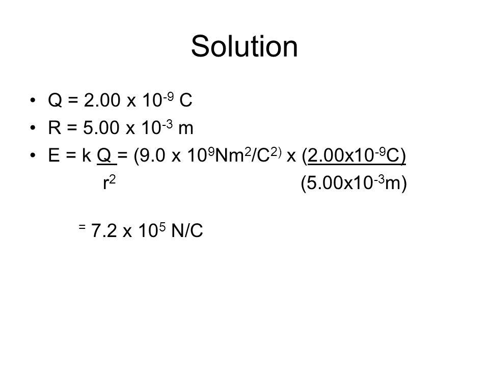 Solution Q = 2.00 x 10 -9 C R = 5.00 x 10 -3 m E = k Q = (9.0 x 10 9 Nm 2 /C 2) x (2.00x10 -9 C) r 2 (5.00x10 -3 m) = 7.2 x 10 5 N/C