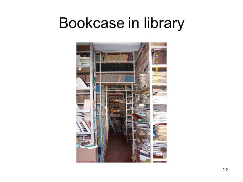 22 Bookcase in library