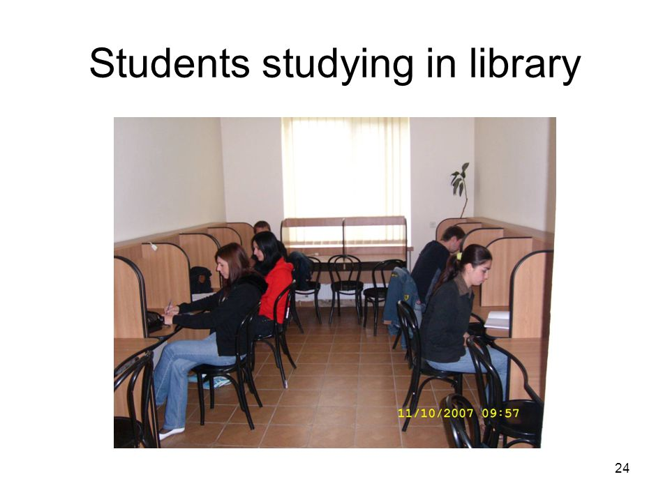 24 Students studying in library