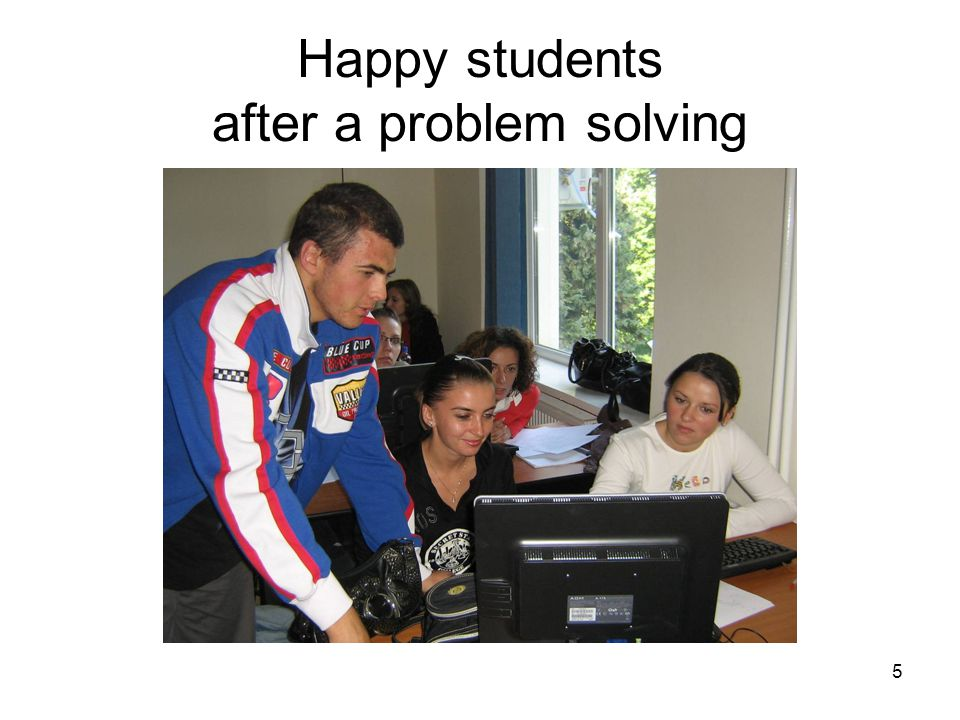 5 Happy students after a problem solving