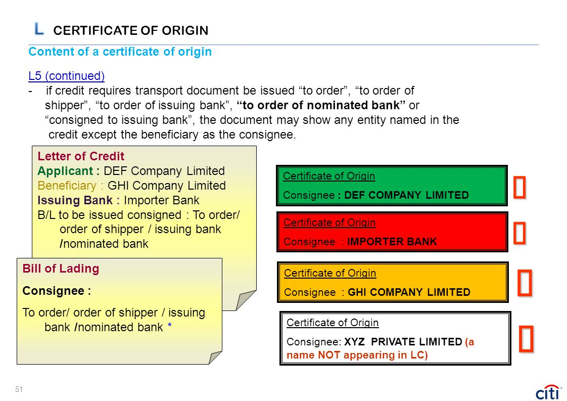 "Content of a certificate of origin L5 (continued) - if credit requires transport document be issued ""to order"", ""to order of shipper"", ""to order of is"