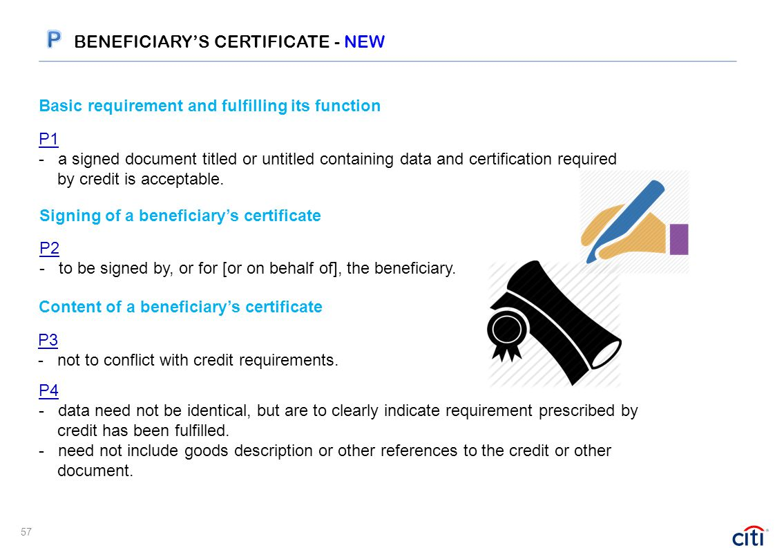 Basic requirement and fulfilling its function P1 - a signed document titled or untitled containing data and certification required by credit is accept