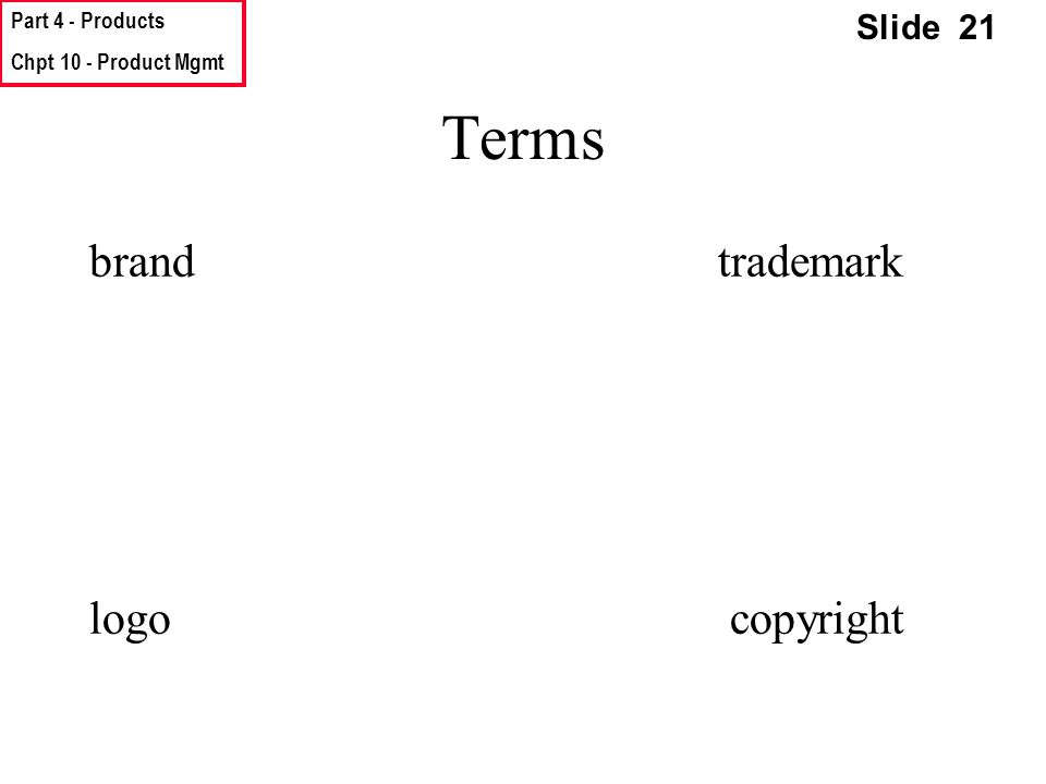 Part 4 - Products Chpt 10 - Product Mgmt Slide 21 Terms brand trademark logo copyright