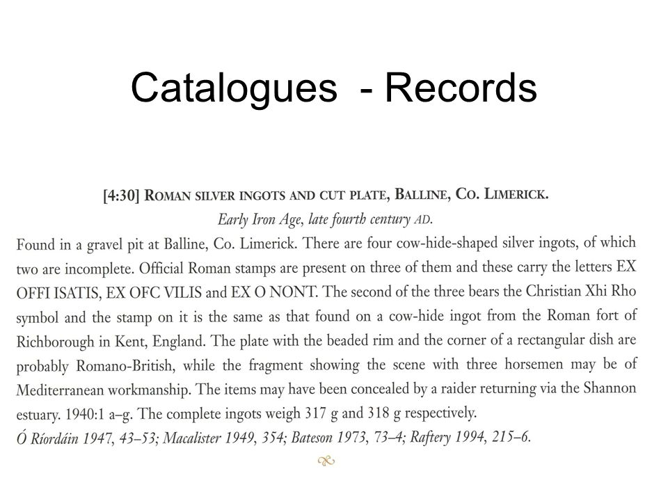 Catalogues - Records