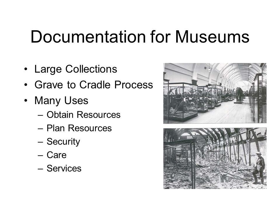 Documentation - Catalogues A catalogue is a structured set of data that describes a museum collection The purpose of a museum catalogue is to convey information about objects to a variety of users.