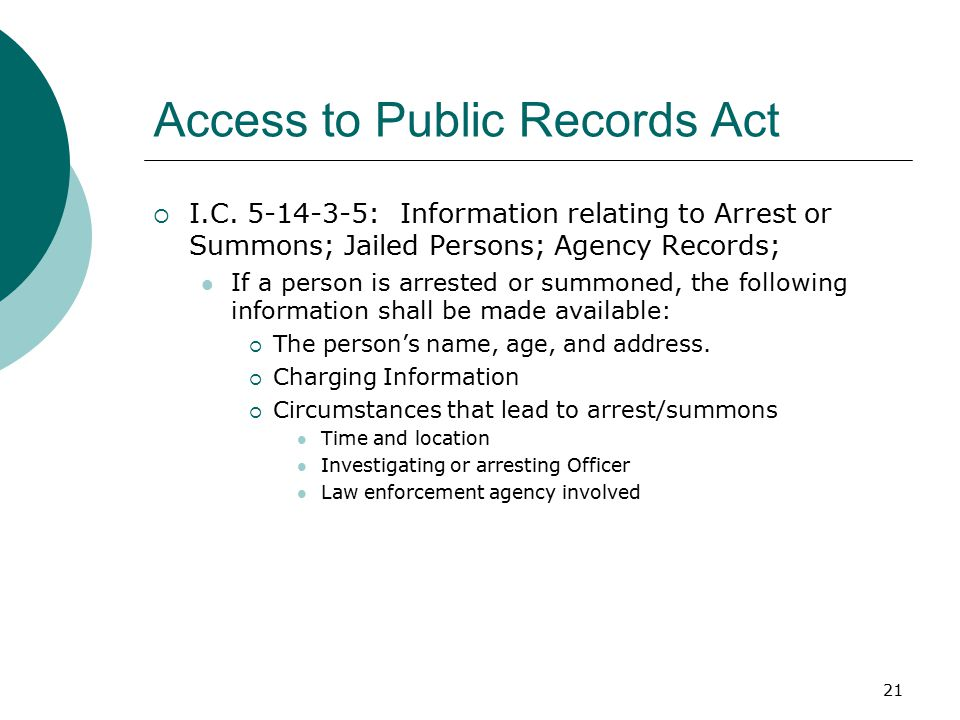 21 Access to Public Records Act  I.C.