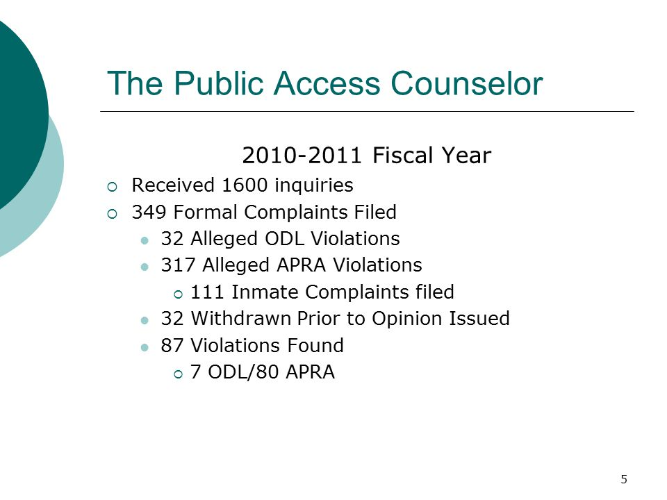 5 The Public Access Counselor Fiscal Year  Received 1600 inquiries  349 Formal Complaints Filed 32 Alleged ODL Violations 317 Alleged APRA Violations  111 Inmate Complaints filed 32 Withdrawn Prior to Opinion Issued 87 Violations Found  7 ODL/80 APRA