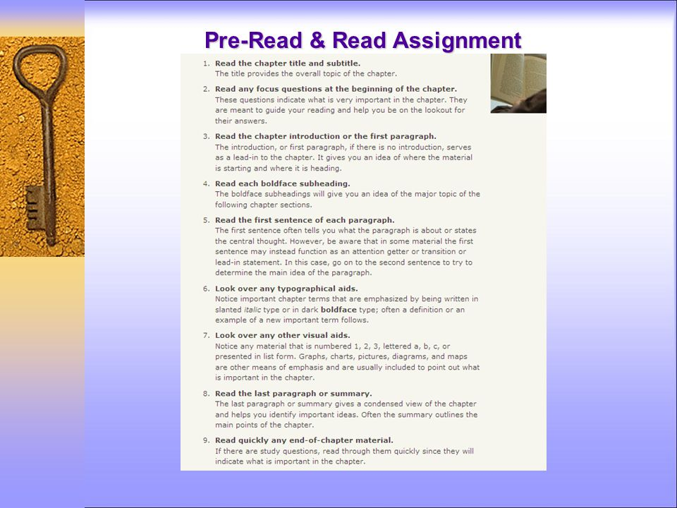 Pre-Read & Read Assignment