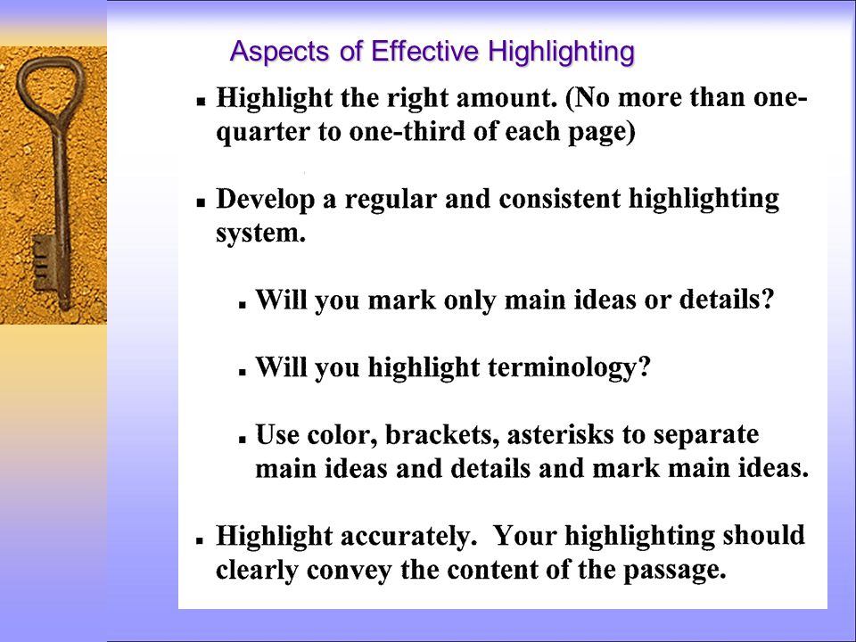 Aspects of Effective Highlighting