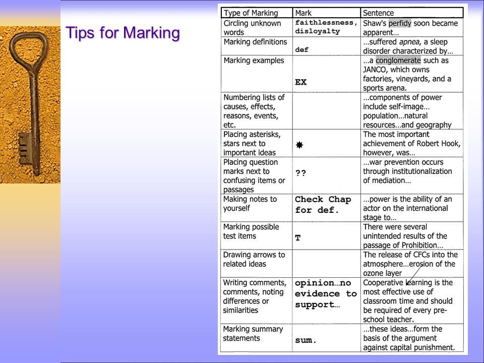 Tips for Marking