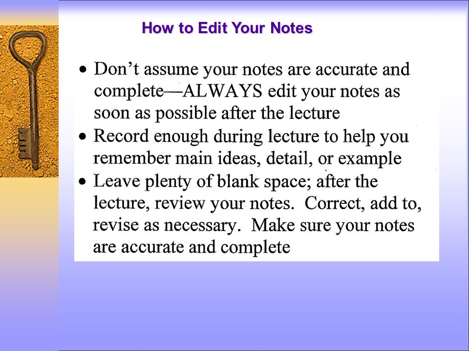 How to Edit Your Notes