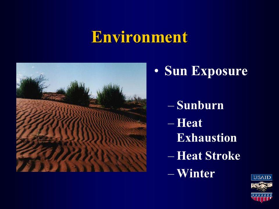 Environment Sun Exposure –Sunburn –Heat Exhaustion –Heat Stroke –Winter