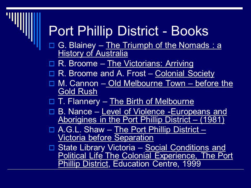 Port Phillip District - Books  G.