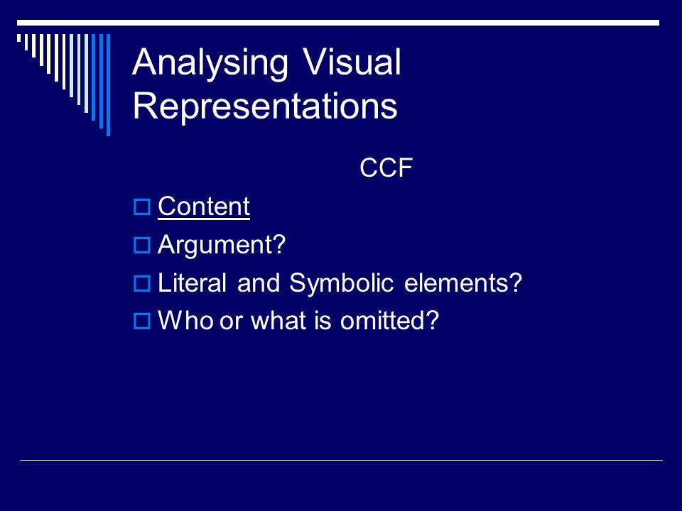 Analysing Visual Representations CCF  Content  Argument.