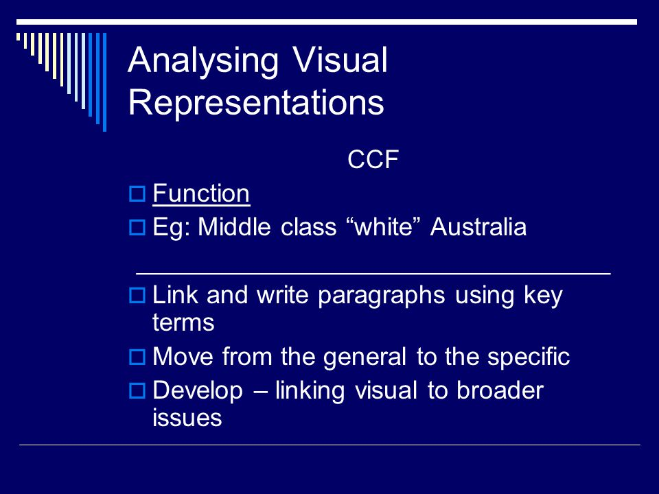 Analysing Visual Representations CCF  Function  Eg: Middle class white Australia _________________________________  Link and write paragraphs using key terms  Move from the general to the specific  Develop – linking visual to broader issues