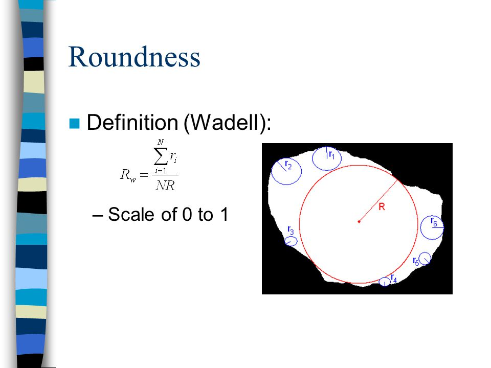 Roundness Definition (Wadell): –Scale of 0 to 1