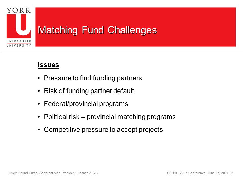 Trudy Pound-Curtis, Assistant Vice-President Finance & CFOCAUBO 2007 Conference, June 25, 2007 / 8 Matching Fund Challenges Issues Pressure to find funding partners Risk of funding partner default Federal/provincial programs Political risk – provincial matching programs Competitive pressure to accept projects