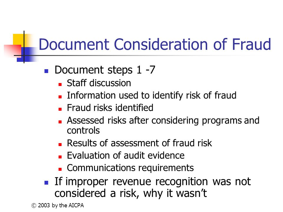 © 2003 by the AICPA Document Consideration of Fraud Document steps 1 -7 Staff discussion Information used to identify risk of fraud Fraud risks identified Assessed risks after considering programs and controls Results of assessment of fraud risk Evaluation of audit evidence Communications requirements If improper revenue recognition was not considered a risk, why it wasn't