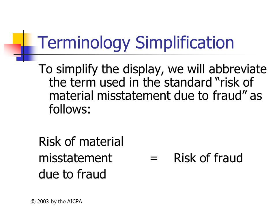 © 2003 by the AICPA Terminology Simplification To simplify the display, we will abbreviate the term used in the standard risk of material misstatement due to fraud as follows: Risk of material misstatement= Risk of fraud due to fraud