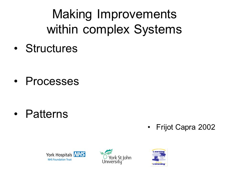 Making Improvements within complex Systems Structures Processes Patterns Frijot Capra 2002