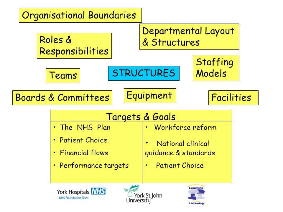 Organisational Boundaries Roles & Responsibilities Teams STRUCTURES Departmental Layout & Structures Staffing Models Facilities Equipment Boards & Committees Targets & Goals The NHS Plan Patient Choice Financial flows Performance targets Workforce reform National clinical guidance & standards Patient Choice