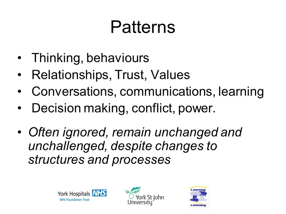 Patterns Thinking, behaviours Relationships, Trust, Values Conversations, communications, learning Decision making, conflict, power.