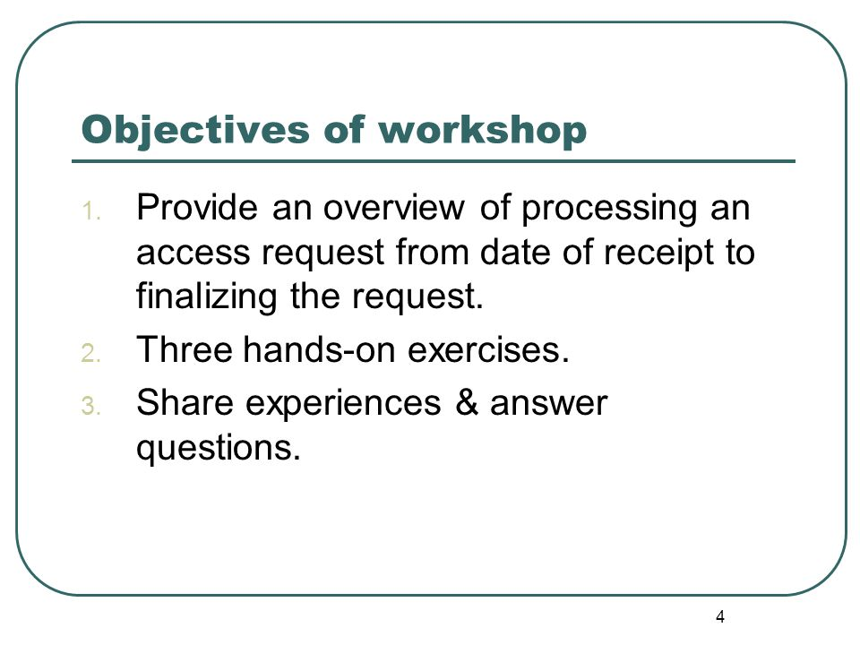 4 Objectives of workshop 1.