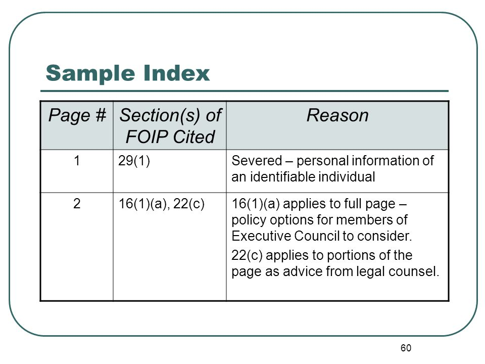 60 Sample Index Page #Section(s) of FOIP Cited Reason 129(1)Severed – personal information of an identifiable individual 216(1)(a), 22(c)16(1)(a) applies to full page – policy options for members of Executive Council to consider.
