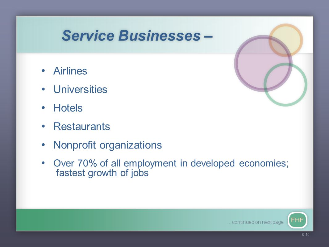 FHF Service Businesses – Airlines Universities Hotels Restaurants Nonprofit organizations Over 70% of all employment in developed economies; fastest growth of jobs 8-10 …continued on next page