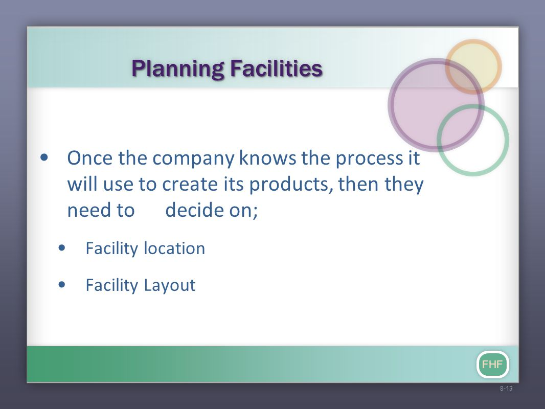FHF Planning Facilities Once the company knows the process it will use to create its products, then they need to decide on; Facility location Facility Layout 8-13