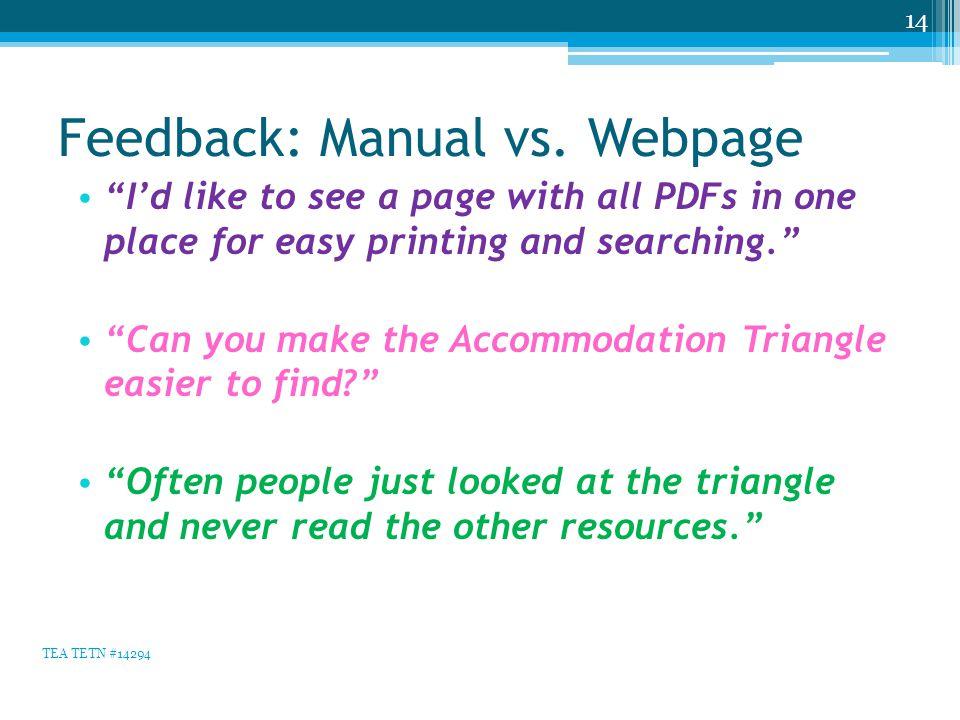 Feedback: Manual vs.