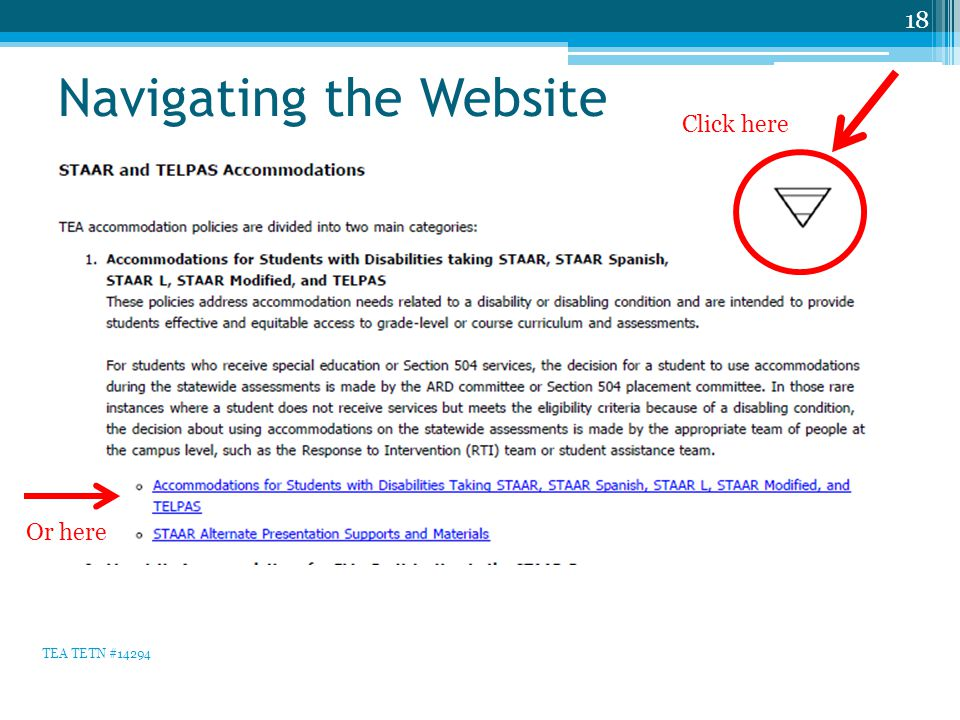 Navigating the Website 18 TEA TETN #14294 Click here Or here
