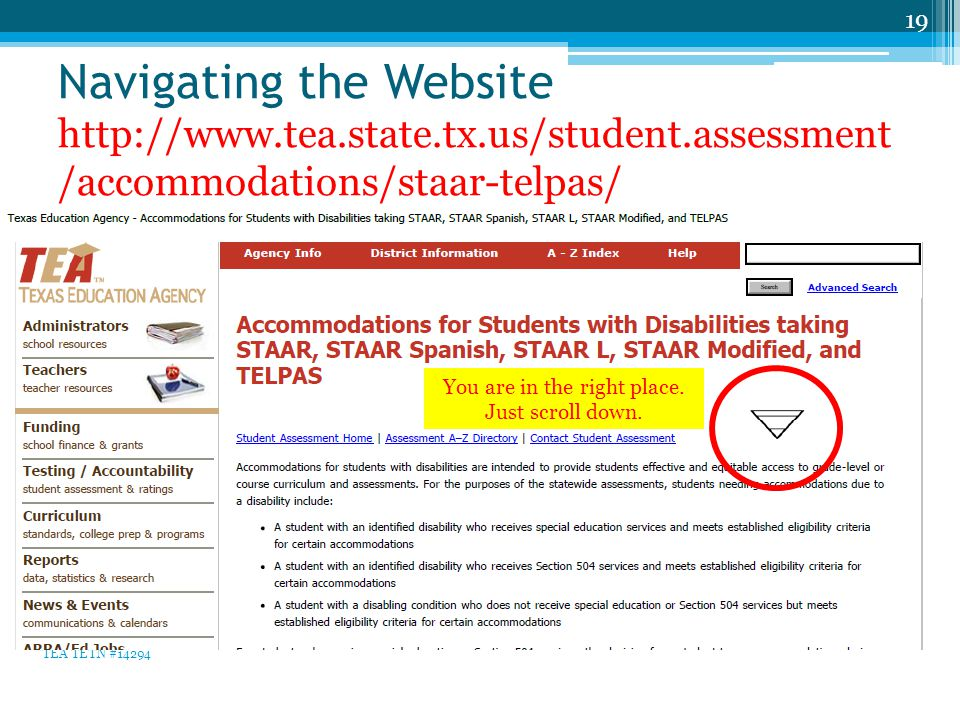 Navigating the Website http://www.tea.state.tx.us/student.assessment /accommodations/staar-telpas/ 19 TEA TETN #14294 You are in the right place.