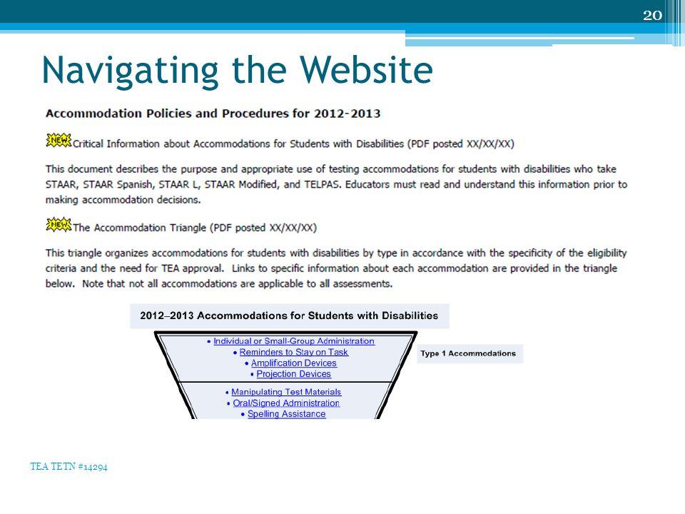 Navigating the Website 20 TEA TETN #14294