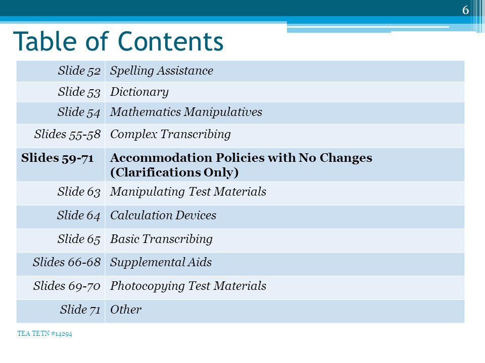 Table of Contents 6 Slide 52Spelling Assistance Slide 53Dictionary Slide 54Mathematics Manipulatives Slides 55-58Complex Transcribing Slides 59-71Acco