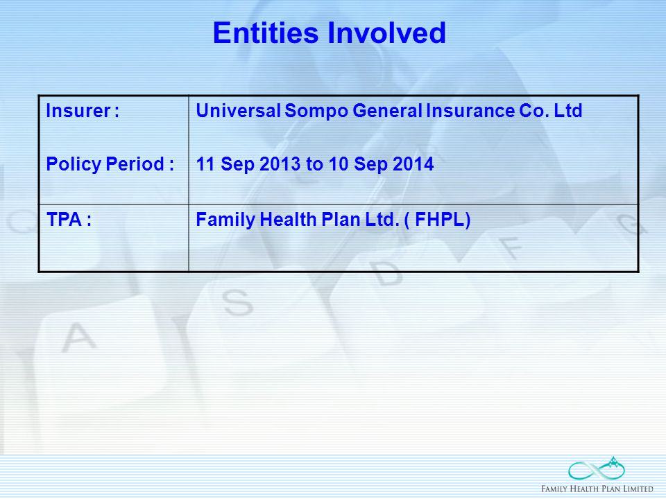 Entities Involved Insurer : Policy Period : Universal Sompo General Insurance Co.
