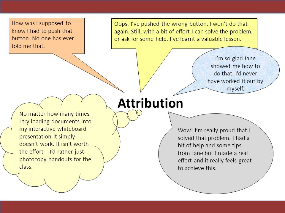 Attribution can get in the way of good learning, and sometimes is used as an excuse for not integrating ICT at all.
