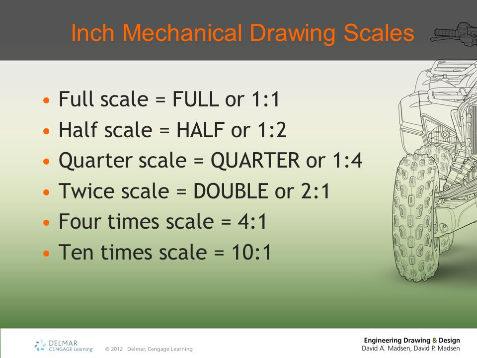 Inch Mechanical Drawing Scales Full scale = FULL or 1:1 Half scale = HALF or 1:2 Quarter scale = QUARTER or 1:4 Twice scale = DOUBLE or 2:1 Four times scale = 4:1 Ten times scale = 10:1