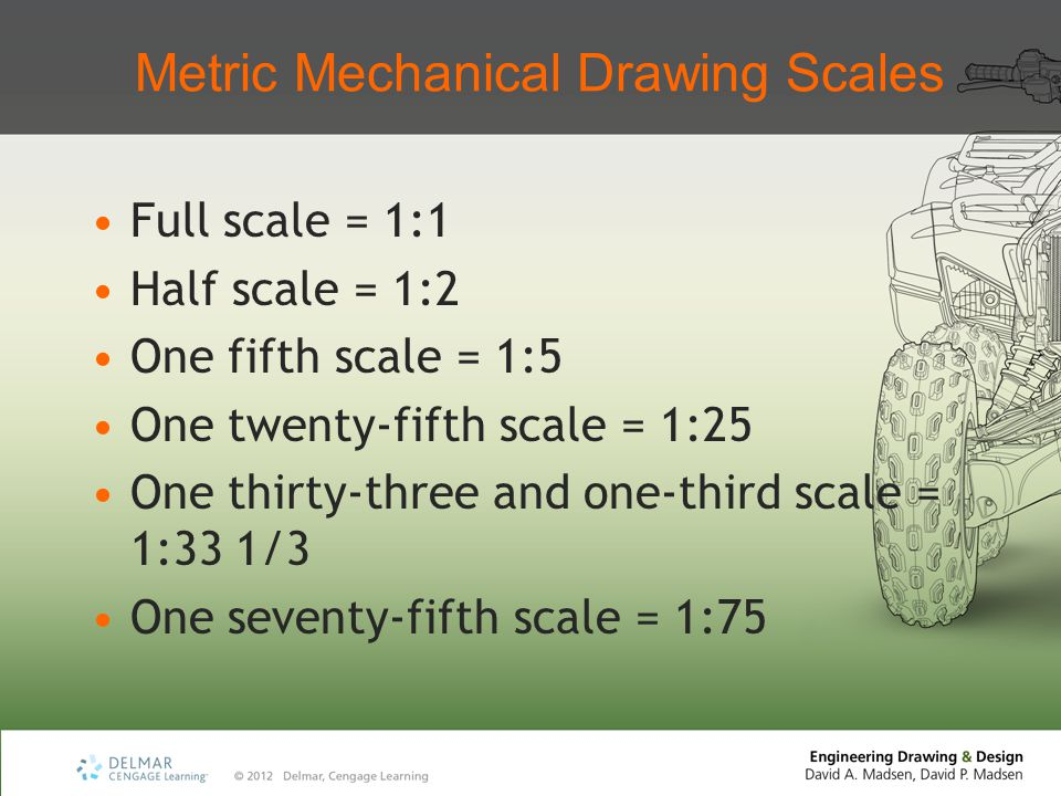 Metric Mechanical Drawing Scales Full scale = 1:1 Half scale = 1:2 One fifth scale = 1:5 One twenty-fifth scale = 1:25 One thirty-three and one-third scale = 1:33 1/3 One seventy-fifth scale = 1:75