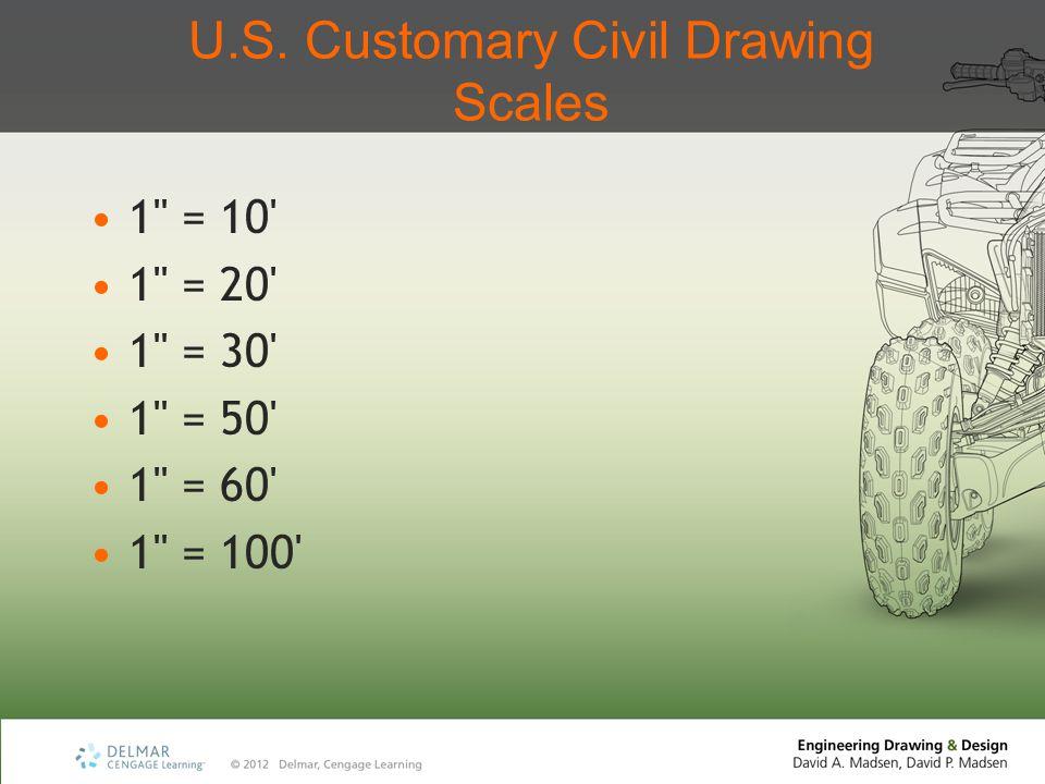 U.S. Customary Civil Drawing Scales 1 = 10 1 = 20 1 = 30 1 = 50 1 = 60 1 = 100