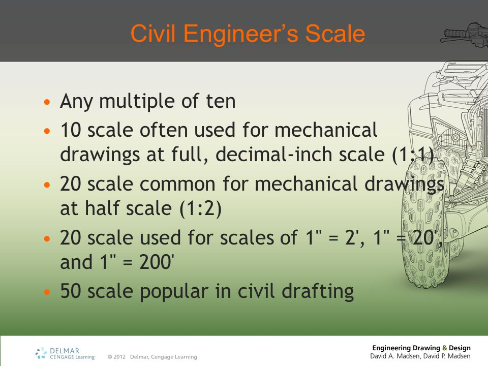 Civil Engineer's Scale Any multiple of ten 10 scale often used for mechanical drawings at full, decimal-inch scale (1:1) 20 scale common for mechanical drawings at half scale (1:2) 20 scale used for scales of 1 = 2 , 1 = 20 , and 1 = 200 50 scale popular in civil drafting