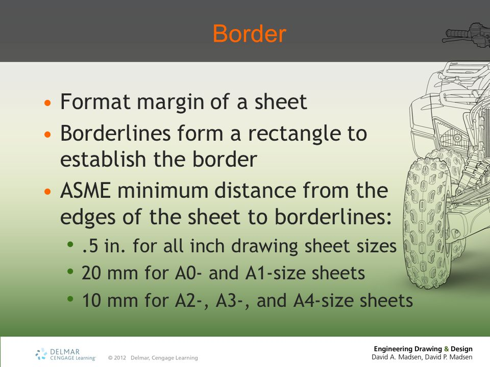 Border Format margin of a sheet Borderlines form a rectangle to establish the border ASME minimum distance from the edges of the sheet to borderlines:.5 in.