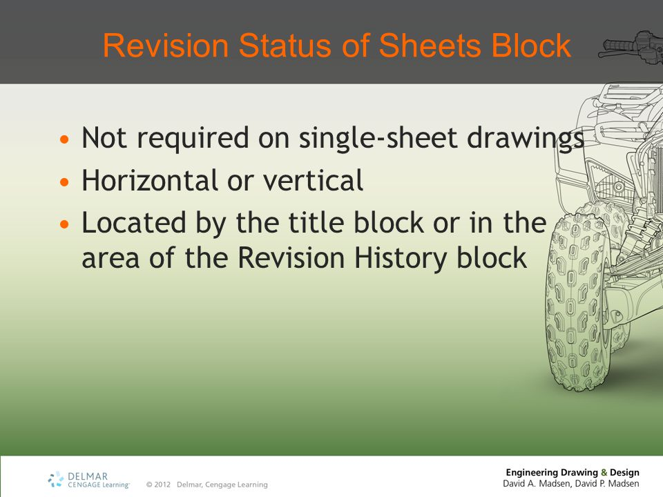 Revision Status of Sheets Block Not required on single-sheet drawings Horizontal or vertical Located by the title block or in the area of the Revision History block