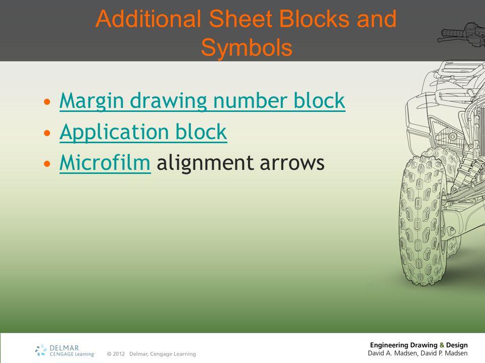 Additional Sheet Blocks and Symbols Margin drawing number block Application block Microfilm alignment arrowsMicrofilm
