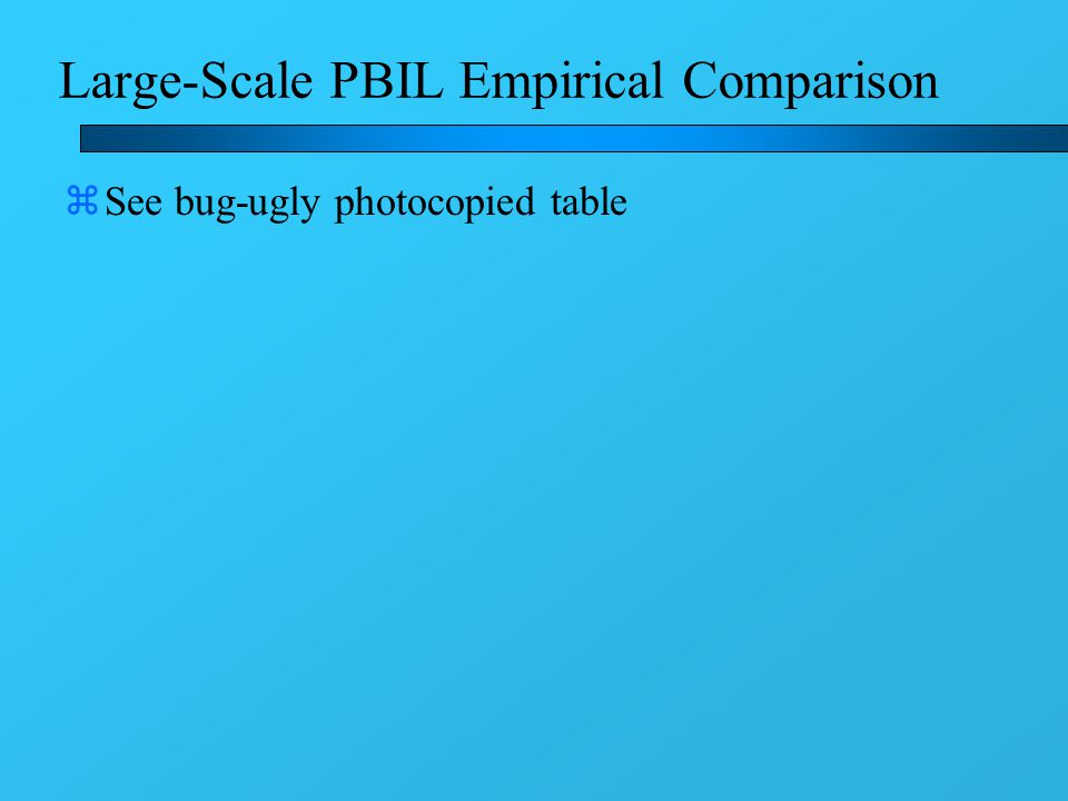 Large-Scale PBIL Empirical Comparison zSee bug-ugly photocopied table