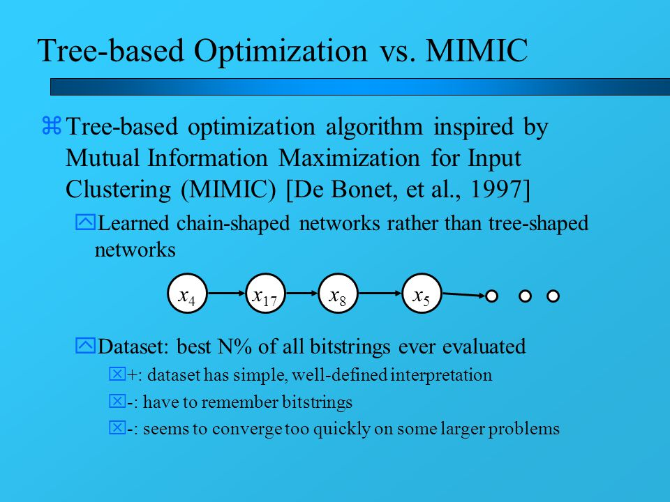 Tree-based Optimization vs. MIMIC zTree-based optimization algorithm inspired by Mutual Information Maximization for Input Clustering (MIMIC) [De Bone