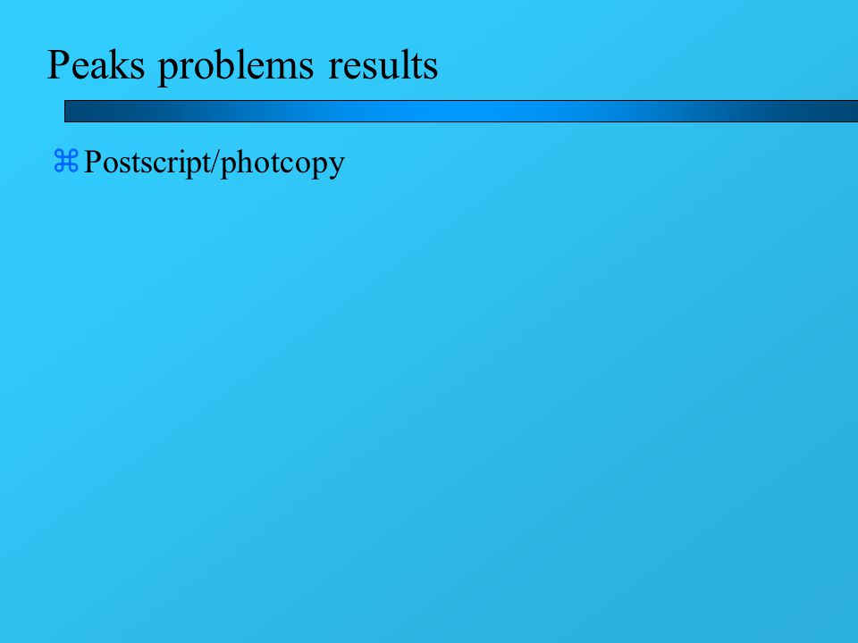 Peaks problems results zPostscript/photcopy