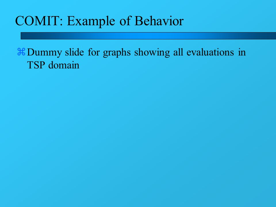 COMIT: Example of Behavior zDummy slide for graphs showing all evaluations in TSP domain