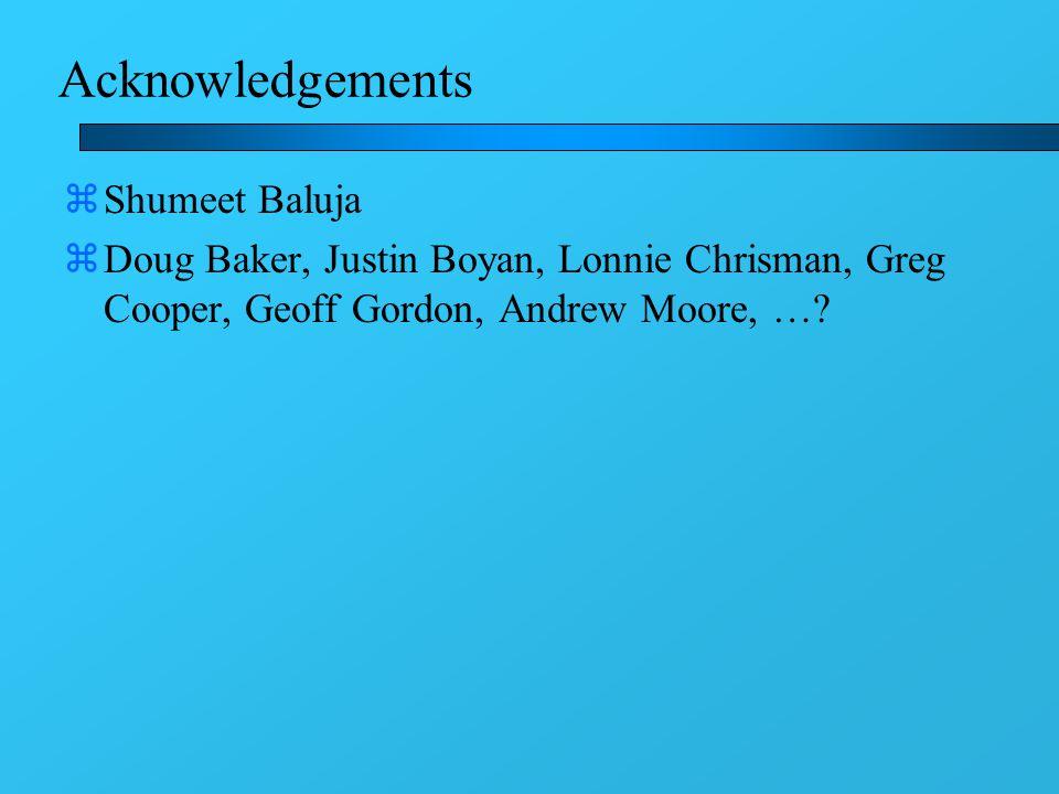 Acknowledgements zShumeet Baluja zDoug Baker, Justin Boyan, Lonnie Chrisman, Greg Cooper, Geoff Gordon, Andrew Moore, …