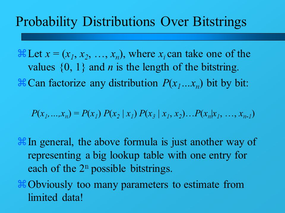 Probability Distributions Over Bitstrings zLet x = (x 1, x 2, …, x n ), where x i can take one of the values {0, 1} and n is the length of the bitstring.